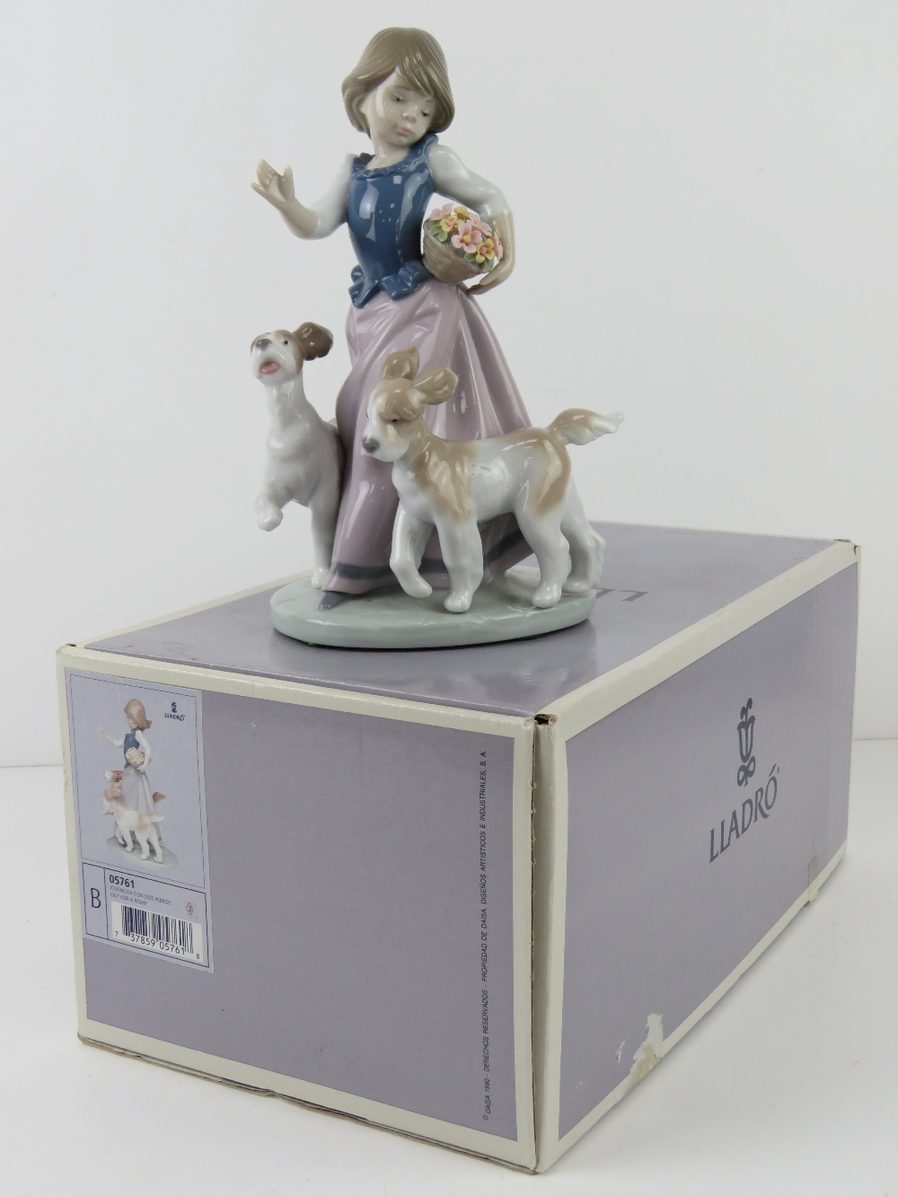 Lladro figurine 5761 'Out For A Romp' a girl with two dogs and a basket of flowers under her arm, - Image 5 of 5