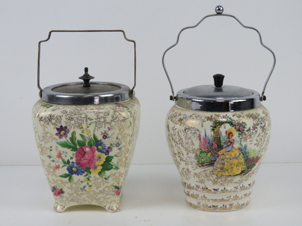 Two ceramic and nickel plated transfer printed wafer / biscuit barrels c1950s, floral design.