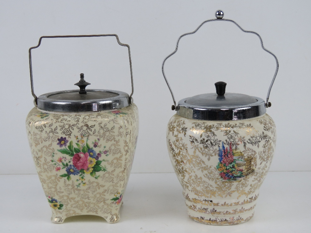 Two ceramic and nickel plated transfer printed wafer / biscuit barrels c1950s, floral design. - Image 2 of 6