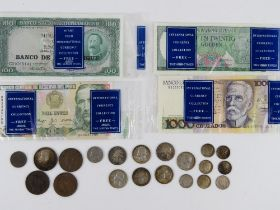 A quantity of British and USA coins together with four bank notes for Brasil, Mozambique,