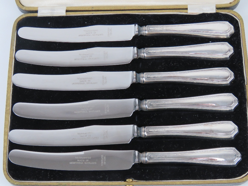 A set of HM silver handled butter knives in fitted box, hallmarked Sheffield 1937. - Image 2 of 4