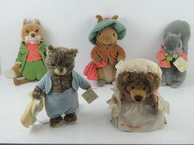 Beatrix Potter World of Peter Rabbit plush toys being; Tom Kitten, Squirrel Nutkin, Benjamin Bunny,