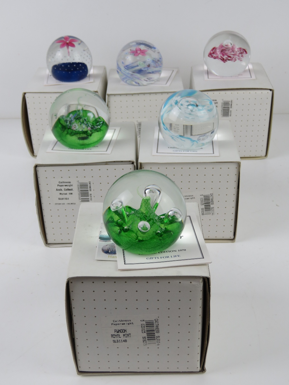 A set of six Royal Mint Classics limited edition Caithness glass paperweights, - Image 9 of 9