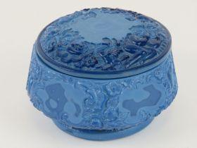 An Art Deco Czechoslovakian Bohemian lapis lazuli opaque glass lidded pot,