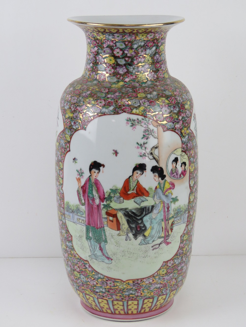 A large Chinese shoulder vase having female figures upon with pink and blue floral decoration and - Image 2 of 6