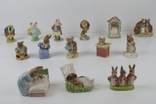 Beatrix Potter Royal Albert figurines each bearing brown back stamp with crown.