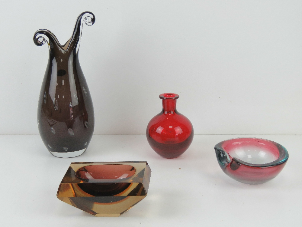 Four assorted art glass vases and bowls including an Italian made vase bearing label for Franco
