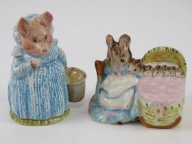Two Beatrix Potter Beswick figurines, old back stamp, 'Hunca Munca' and 'Aunt Pettitoes'.
