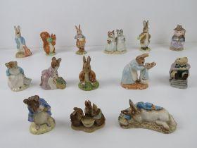 Beatrix Potter Royal Albert figurines including; Squirell Nutkin, Peter in the Goosebury net,