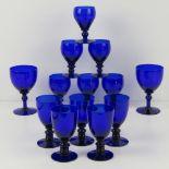 A quantity of Bristol Blue glassware inc a pair of wine glasses, pair of liqueurs,