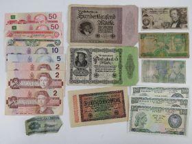 A quantity of bank notes inc Canadian 2 dollar (x3), 5 dollar, 10 dollar,