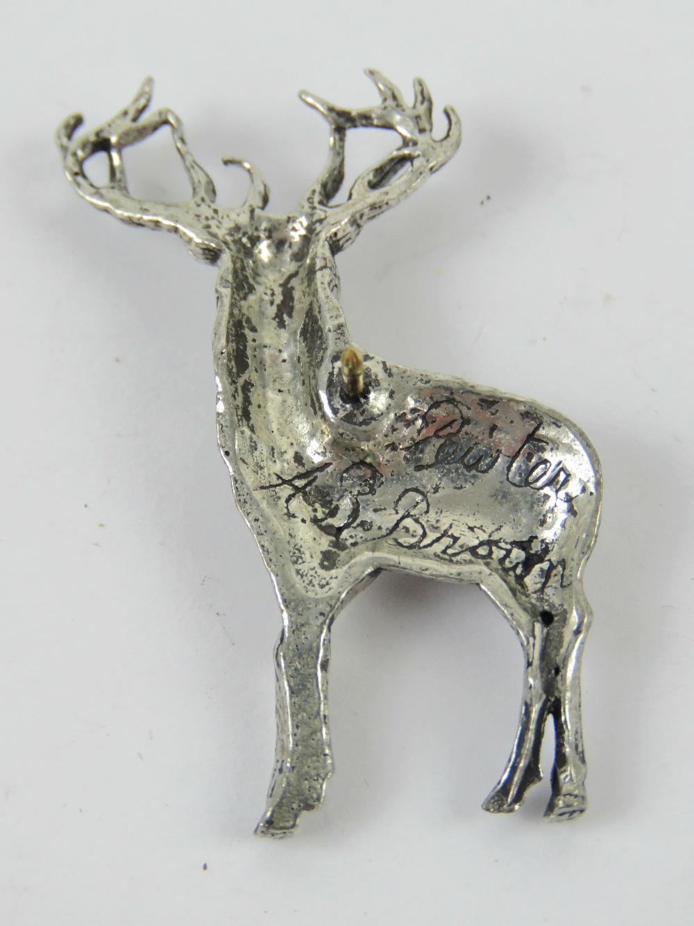 A pewter brooch in the form of a stag by AB Brown, in presentation box. - Image 2 of 3