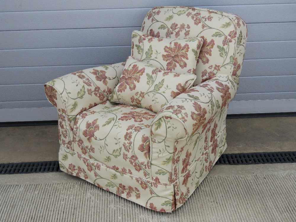 A good recovered oversprung arm chair of