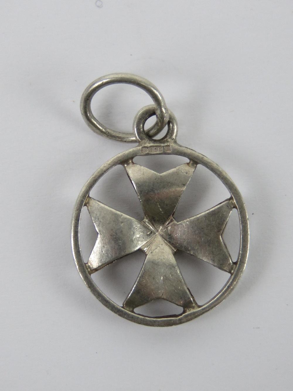 A silver Maltese Cross pendant, having M - Image 2 of 3