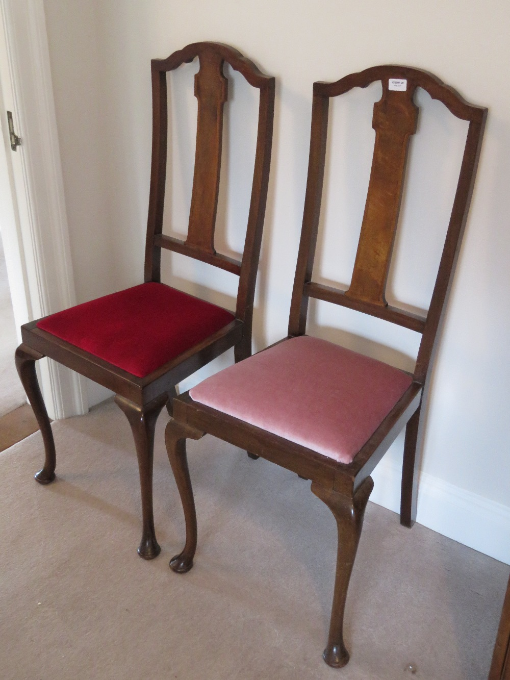 A pair of high back Edwardian vertical s