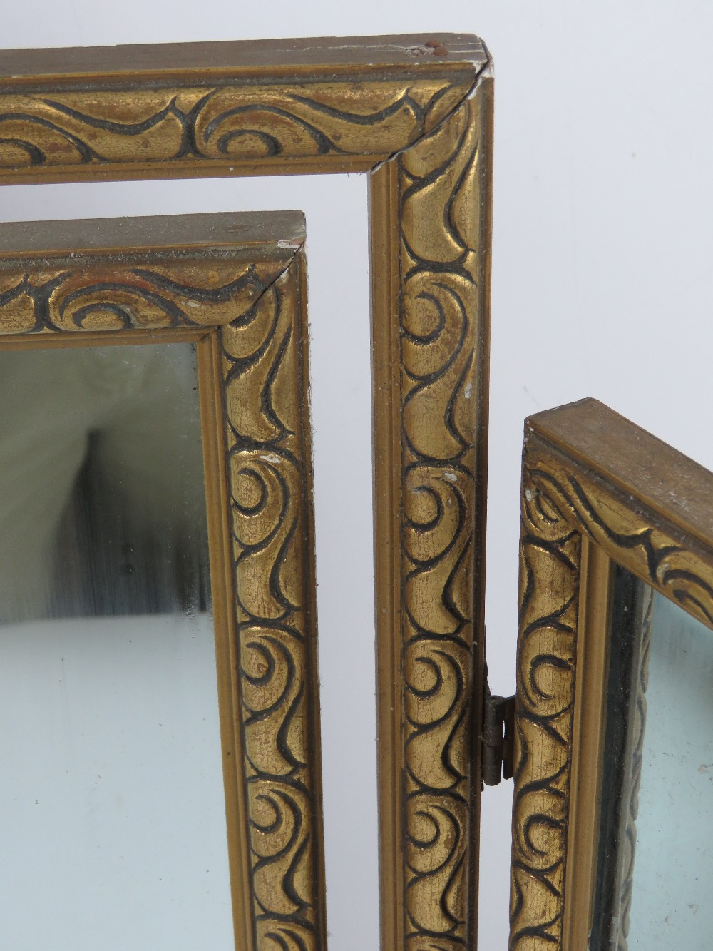 A gold painted tryptic dressing table mi - Image 2 of 3