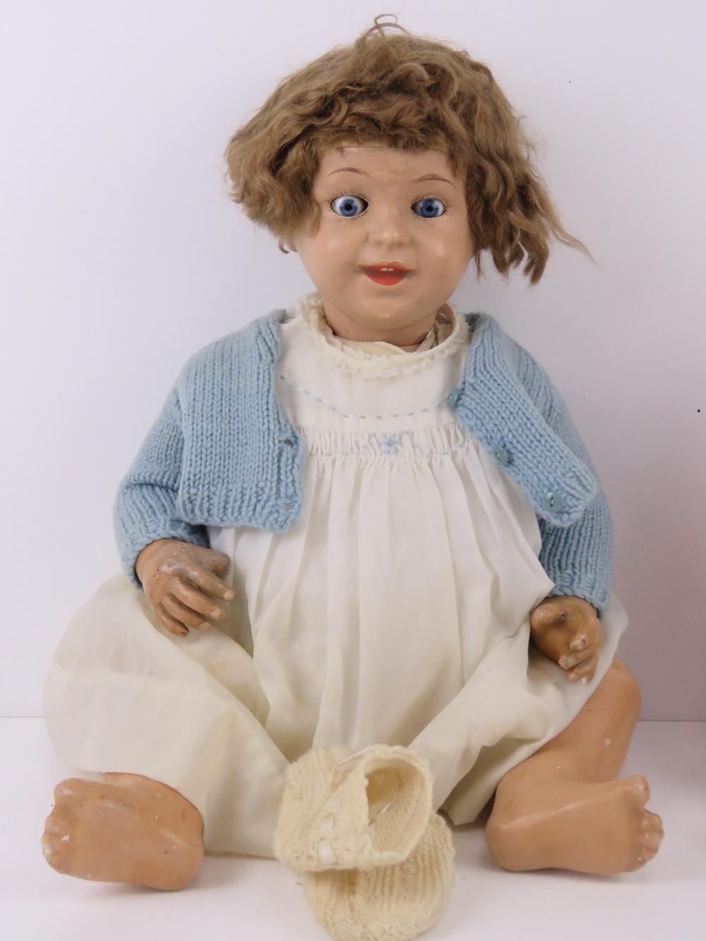 A vintage doll having glass eyes, handpa - Image 3 of 3