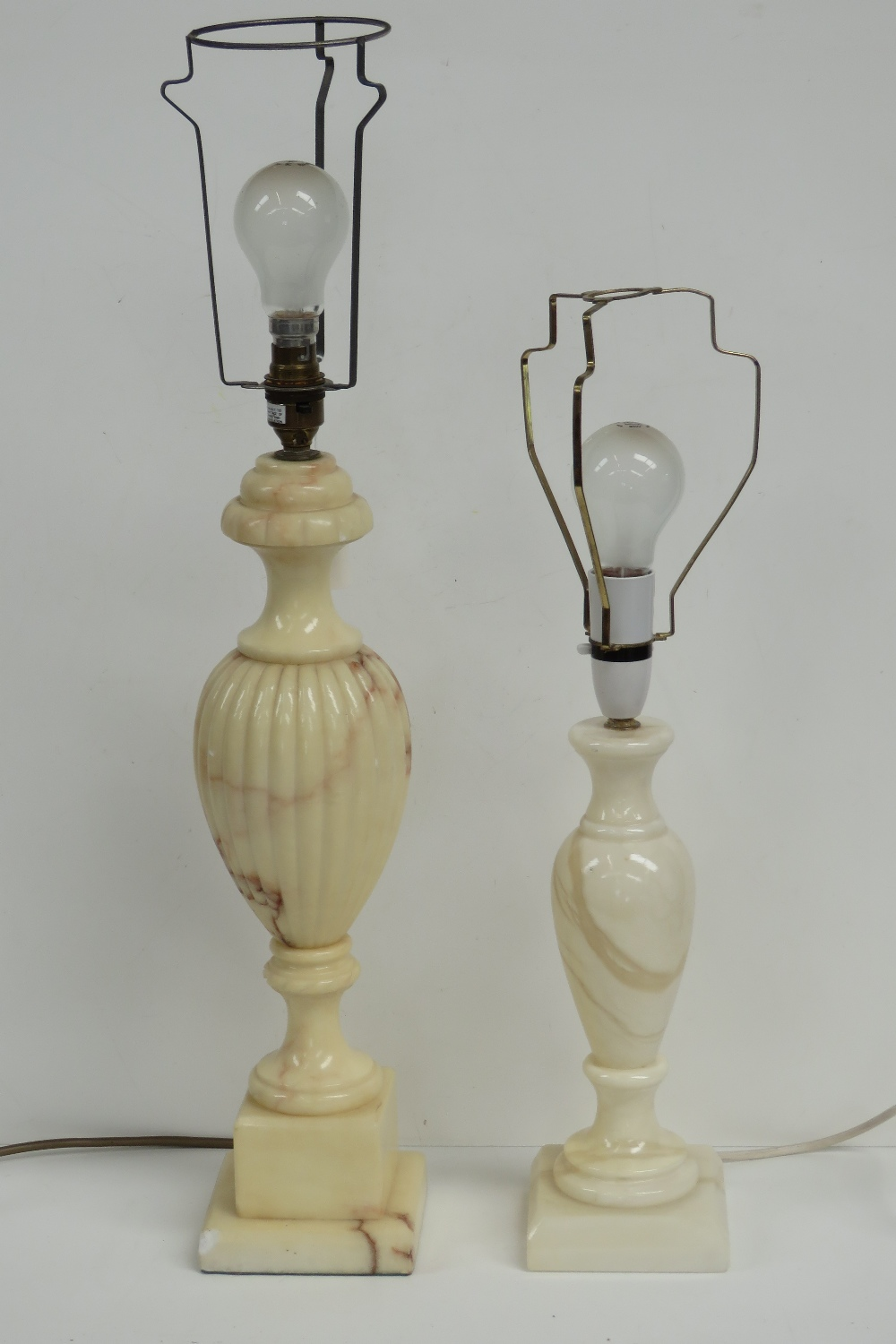 Two alabaster side lamp bases of classic