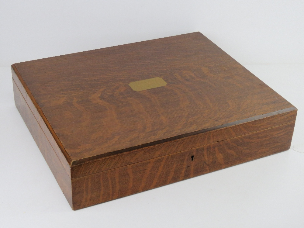 A good oak cutlery box with countersunk