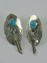 A pair of Native American sterling silve