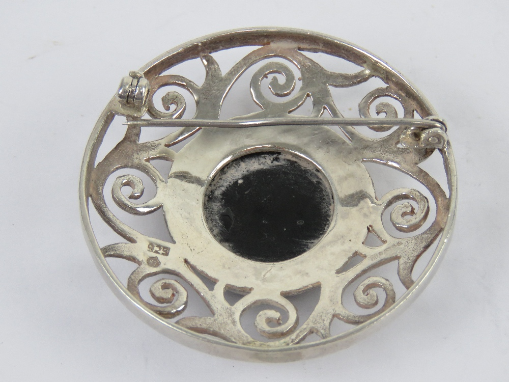 A large Celtic style silver and onyx pla - Image 2 of 3