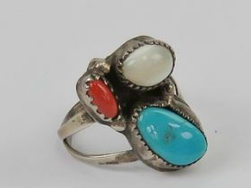 A Native American ring having turquoise