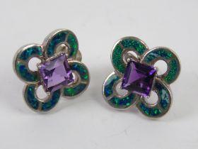A pair of 925 silver earrings having cen