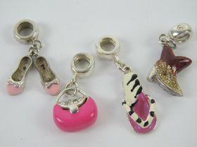 A set of four silver and enamel Pandora