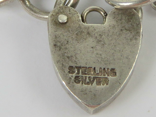 A HM silver curb link chain charm bracel - Image 2 of 2
