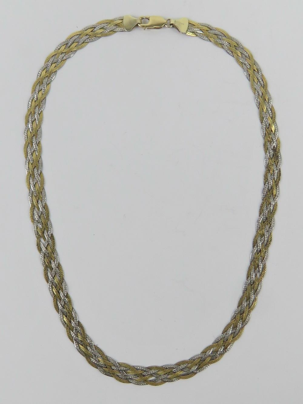 A hallmarked silver bi-colour woven chai - Image 2 of 3