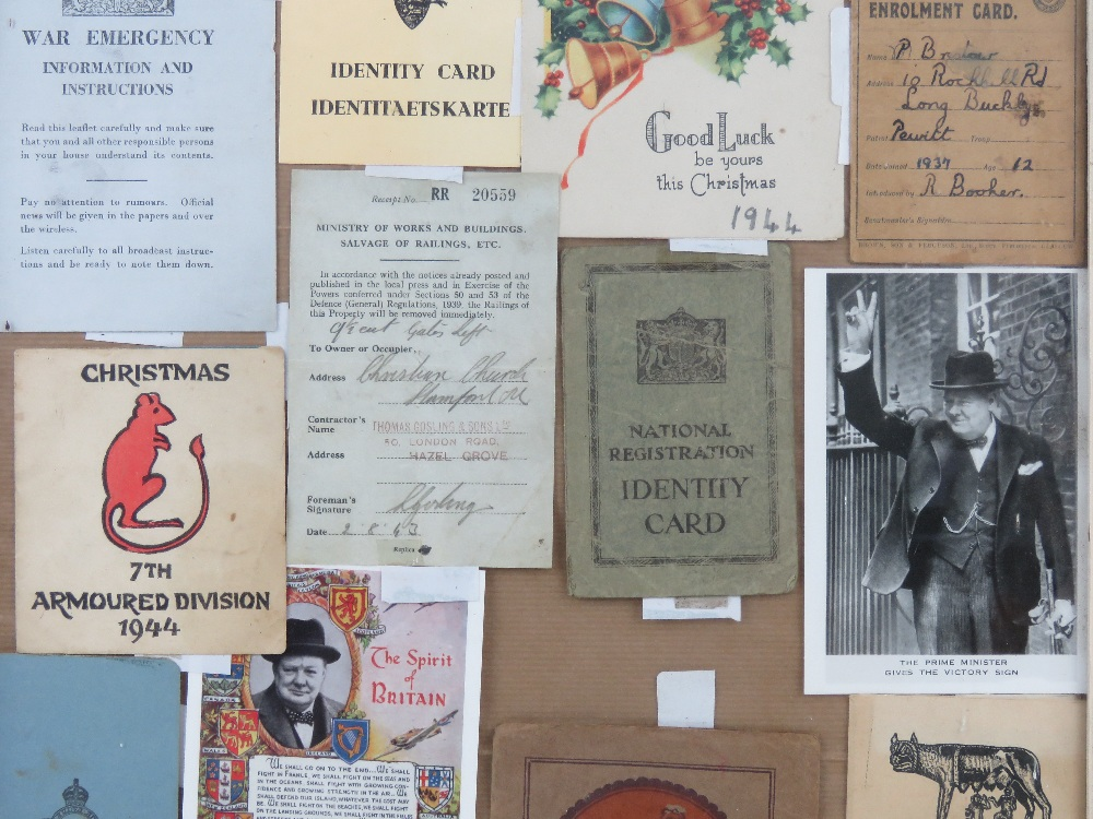 A framed montage of WWII items inc Motorfuel ration book, - Image 3 of 4