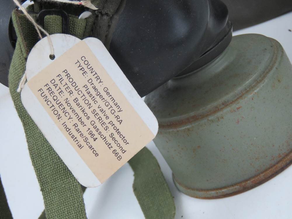 Three German Bundeswehr Draeger/CTG-RA gas masks with filters in carry cases. - Image 2 of 5