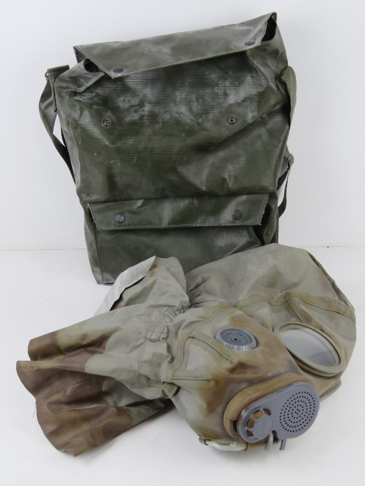 A Czech M-10 M military gas mask in bag.
