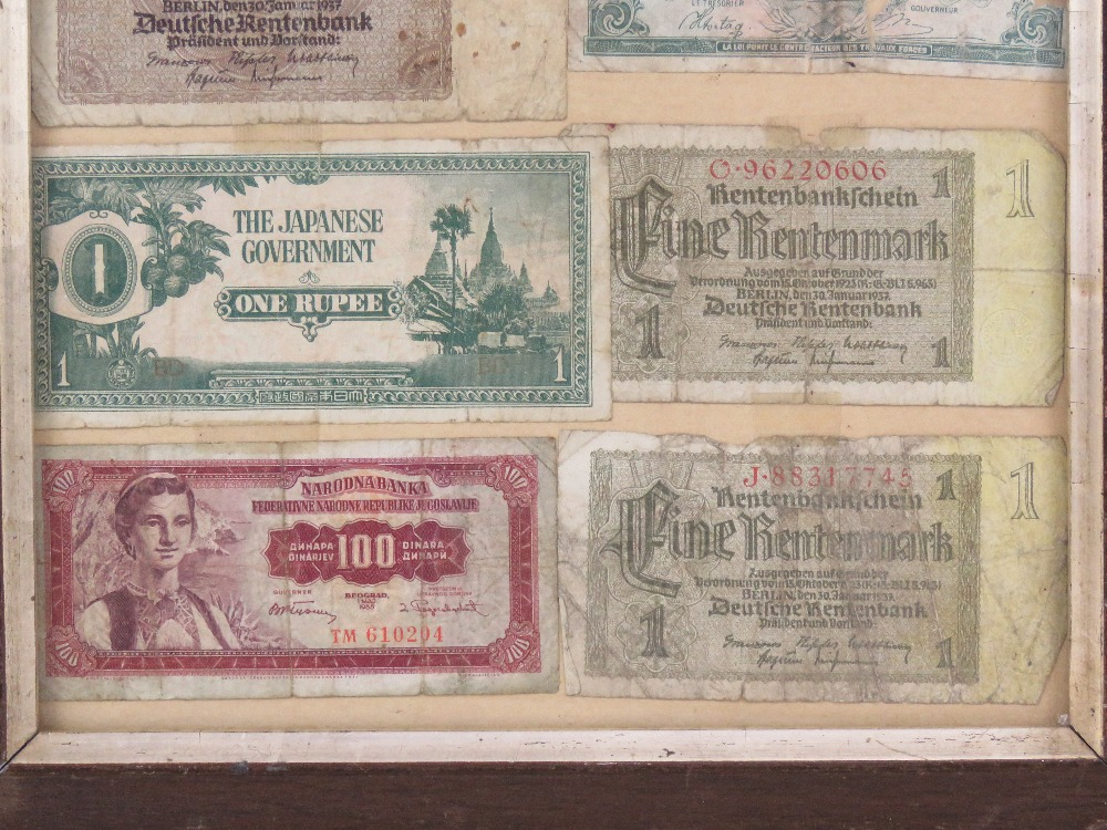 A framed montage of cWWII bank notes inc Chinese, Belgian, Japanese, German etc, - Image 4 of 4
