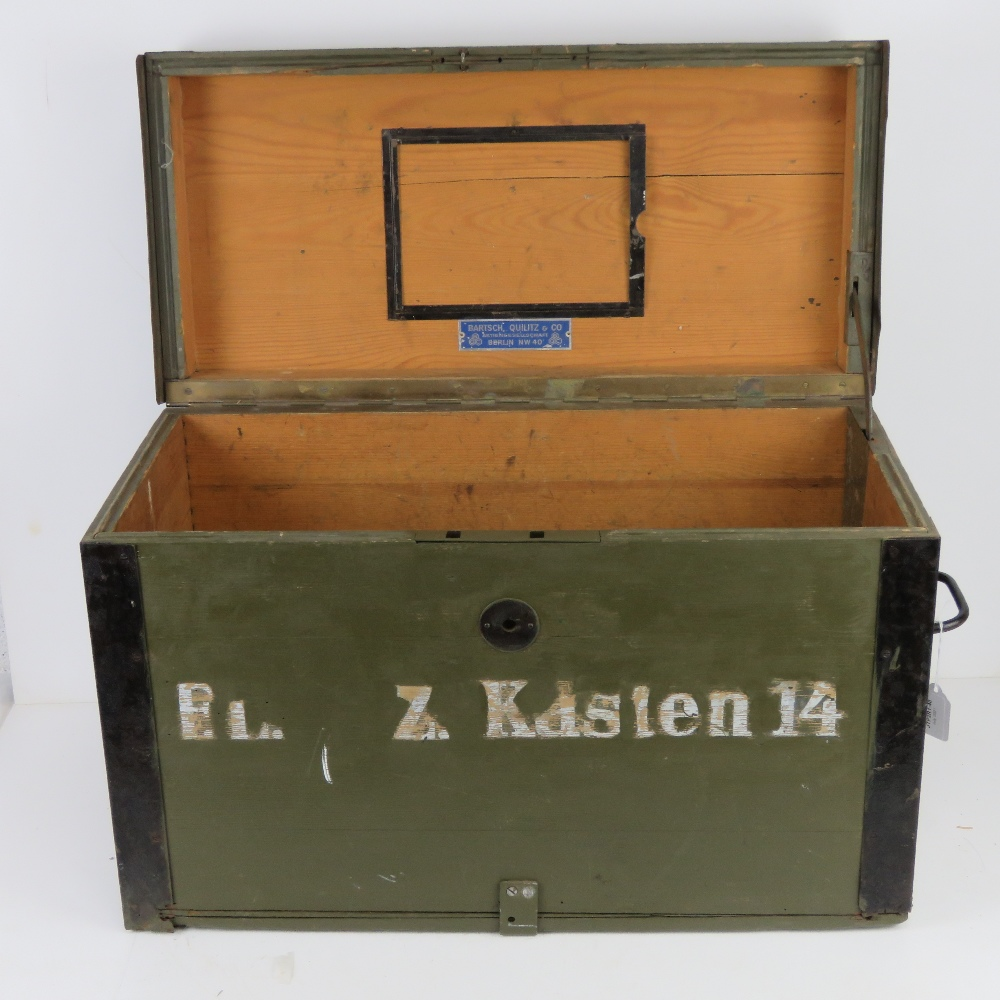 A WWII German Red Cross wooden transit case having metal end handles and bearing label Bartsch - Image 2 of 6