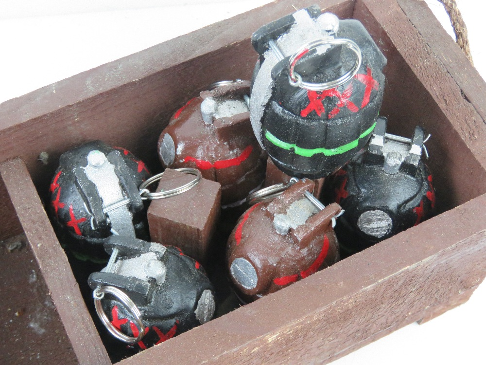 Twelve reproduction inert Mills grenades in transit tray, metal dummies with pins. - Image 2 of 3