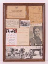A montage of WWII ephemera inc rations books,