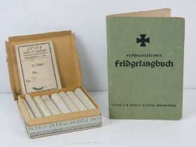 A WWII German Deli cigarettes in box, together with hymn book.