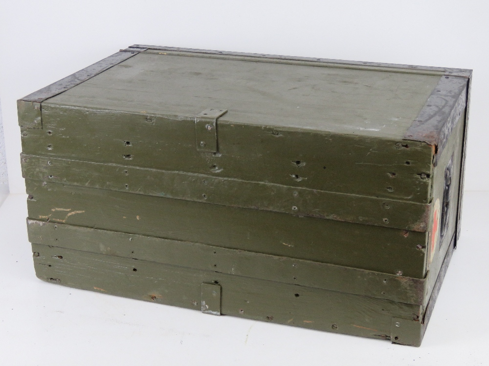 A WWII German Red Cross wooden transit case having metal end handles and bearing label Bartsch - Image 6 of 6