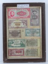 A framed montage of cWWII bank notes inc Chinese, Belgian, Japanese, German etc,
