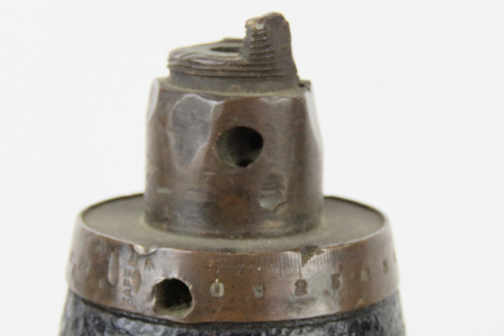 An inert WWI British shrapnel round with case, dated 1916, standing 61cm high. - Image 3 of 4