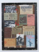 A montage of assorted WWII items inc rations books, YHA handbook, German banknote,