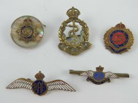 A quantity of sweetheart badges having military and regimental emblems upon inc RAF,