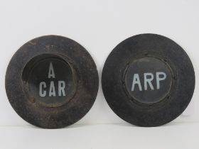 A rare set of WWII light covers being 'ARP' and 'A CAR', each measuring 24.5cm dia.