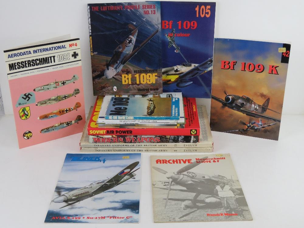 A quantity of assorted military themed books inc: 'Messerschmitt 109', 'Me 109- T-90 Standard Tank',