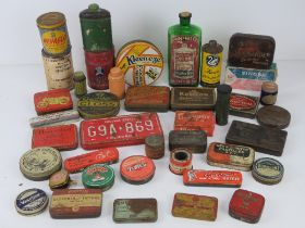 A large quantity of circa WWII and later tins inc Swan Metal Polish, Piccadilly cigarette,