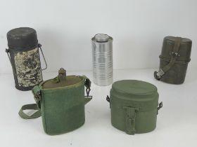 Two military mess tins, an aluminium hot water,