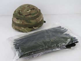 A British Military MK7 helmet with MTP helmet cover, size small.