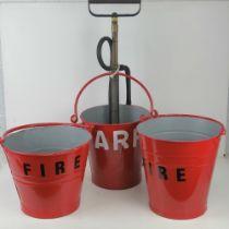 Three vintage fire buckets, repainted,