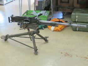 A deactivated Breda M37 7.92mm heavy machine gun and tripod.